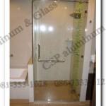 ฉากกั้นอาบน้ำกระจกนิรภัย บานเปิดสวิง มือจับสแตนเลส พร้อมฟิตติ้ง เกรด 304 ราคาถูก