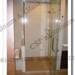 ฉากกั้นอาบน้ำกระจกนิรภัย บานเปิดสวิง มือจับสแตนเลส พร้อมฟิตติ้ง เกรด 304 ราคา